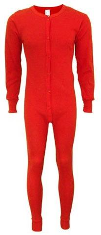 Indera - Mens Tall Long Sleeve Union Suit, Red, 865 19265-