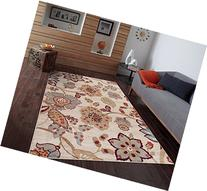 Ivory Beige Blue 7'10x10'2 Floral Area Rug Oriental Carpet