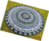 Round Beach Towel Elephant Mandala Roundie Beach Throw