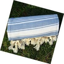 Jean Blue Turkish Towel Peshtemal - 100% Natural Dyed Cotton