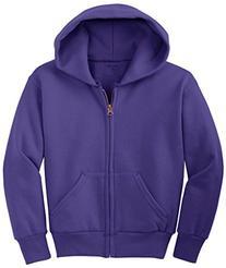 Joe's USA - Youth Full-Zip Hooded Sweatshirt-Purple-L