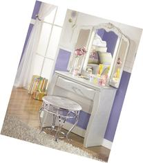 Julia Silver and Pearl Girl's Vanity with Stool