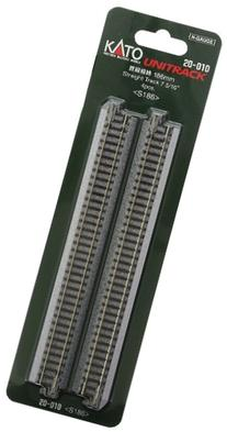 """Kato N Scale Unitrack 7 5/16"""" 186mm Straight Track - 4 per"""