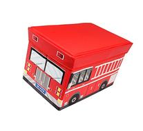 Kid's Fire Truck Collapsible Toy Storage Organizer - Cushion Top