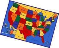 Kids Rug USA Map 3' x 5' Children Area Rug for Playroom &