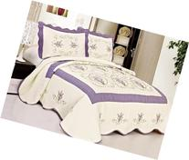 Queen Size Quilted Bedspread Purple Flowers Floral 0034