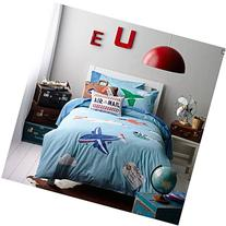 LELVA Cartoon Airplane Embroidery Patterns Cotton Bedding