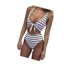 Laimeng,Women Lady Sexy U-Neck Polyester Striped Swimwear