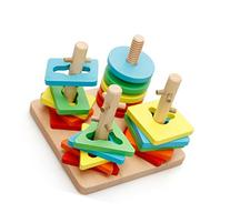 Lewo Wooden Shapes Sorter Toys Creative Pegged Puzzles Games