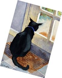 Lex Looking Out, Unframed Giclee Print of Watercolor Pet