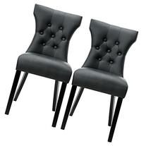 LexMod Silhouette Modern Dining Chair Set of 2 in Black