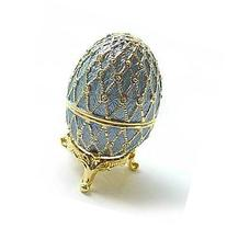 Light Blue/Lavender Faberge Style Egg Figurine with Ring