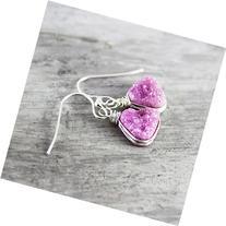 Light Pink Druzy Quartz Triangle Sterling Silver Earrings