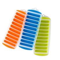 Lily's Home Silicone Narrow Ice Stick Cube Trays with Easy Push and Pop Out Material, Ideal for Sports and Water Bottles, Assorted Bright Colors