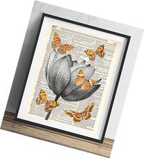 Lotus Flower With Butterflies Dictionary Art Print 8x10