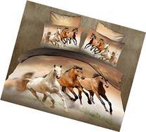 Lovelyou Three Horses 100% Cotton Queen Size 3d Print