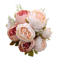 Luyue Vintage Artificial Peony Silk Flowers Bouquet, Light