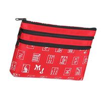Mah Jongg Red and Silver 3 Zipper Mah Jong Purse for Mahjong