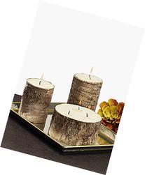 Medium Birch Bark Pillar Candle