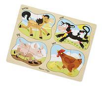 Melissa & Doug Farm 4-in-1 Wooden Peg Puzzle - Horse, Cow,