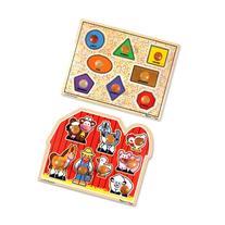 Melissa & Doug Jumbo Knob Wooden Puzzles - Shapes and Farm