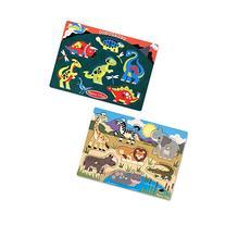 Melissa & Doug Animals Wooden Peg Puzzles Set - Safari and