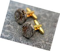 Mens Steampunk Cufflinks - Luxury Handmade Gold studs