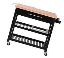 Merax® Kitchen Furniture Natural Wood Kitchen Cart/Island