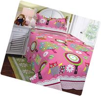 Mk Collection Twin Size 2 Pc Bedspread Teens/girls Owl Pink