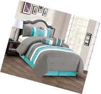 Modern 7 Piece Bedding Teal Blue / Grey / White Pin Tuck /