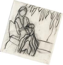 Modern Art Mother and Child Black and White Sketch - hand