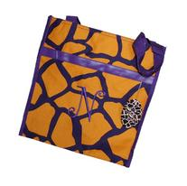 Monogrammed Gold and Purple Zippered Tote Bag