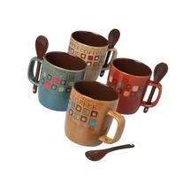 Mr. Coffee 8-Piece Cafe Americano Mug Set with Spoons, 13-