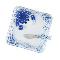 Mud Pie Glass Crab Cracker Dish Set, Blue