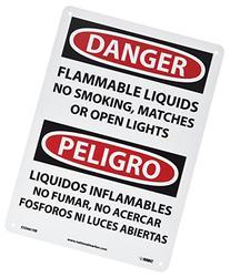 "NMC ESD661RB Bilingual OSHA Sign, Legend ""DANGER - FLAMMABLE"