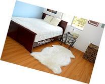 Realistic Sheepskin Faux Fur Single Pelt Natural Off White
