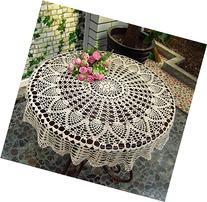 New Beige 36'' Round Handmade Crochet Sunflower Lace Table