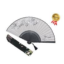 "OMyTea® 8.27"" Women Hand Held Silk Folding Fans with Bamboo"