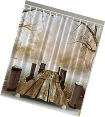 Ambesonne Shower Curtain Collection, Ocean Decor Fall Wooden