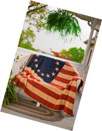 VHC Brands Seasonal Americana Pillows Old Glory Red Woven