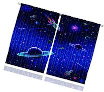 Ambesonne Kids Curtains, Outer Space Orbit Rocket Galaxy