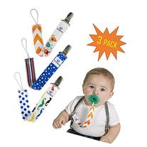 Pacifier Clip Set 3 Pack for Baby BOYS -Cute 2-Sided