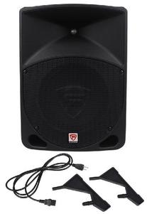 Rockville RPG10 1200 Watt 2-Way DJ/PA Powered Speakers  with 10-Inch Woofer, 2-Inch Voice Coil, Pair of Adjustable Speaker Stands, XLR Male to Female