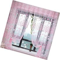 PanDaDa Floral Sheer Voile Curtain Drape Panel Tulle