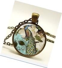 Peacock Necklace, Victorian Style Peacock Jewelry Glass Art