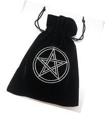 Pentacle Embroidered Black Luxury Velvet Drawstring Tarot /