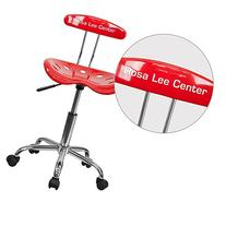 Personalized Red Task Chair LF-214-RED-TXTEMB-VYL-GG
