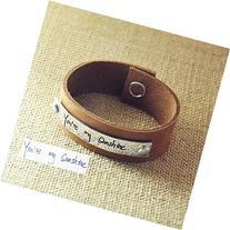 Personalized Signature Leather Bracelet, Hand Writing