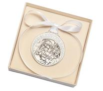 Pewter Baby with Guardian Angel Crib Medal with White Ribbon