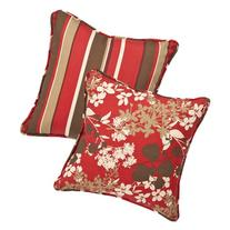 Pillow Perfect Decorative Red/Brown Floral/Striped Toss